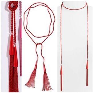 NWT KENDRA SCOTT phara red lariat necklace matte
